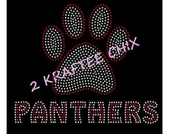 Panther Paw Rhinestone Tshirt, Panther Paw Bling Tshirt, Panther Paw Rhinestone Shirts, Panther Paw Bling Shirts