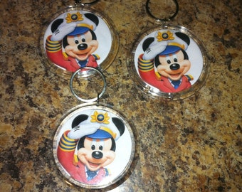 6 DCL Disney Cruise Mickey Mouse  Key Chain Great FE or Party Gift