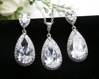Bridal Earrings Cubic Zirconia Jewelry set,Long Teardrop earrings,bridesmaid jewelry set,dangle earrings,wedding jewelry