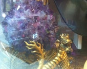 Gold guided dragon (Australian franklin Mint) collectable holding a 12cm Amethyst Ball