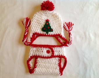 Christmas Baby Crochet Hat and Diaper Cover - Red, White, and Green.