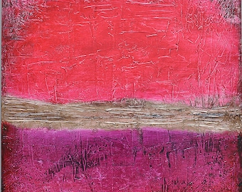 Original Abstract Acrylic Painting Red Purple Brown Umber Magenta Gold Expressionist 24 x 24