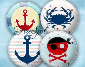 Pirate Anchor Crab navy octopus - Digital Collage Sheet 1.5 inch,1.25 inch,30mm,1 inch,25mm  circle,Glass Pendant, Bottlecaps,Scrapbooking
