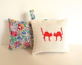 Handmade Pink Cats Lavender Sachet Vintage Liberty of London Fabric