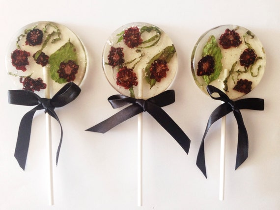 3 Organic Blackberry And Basil Wedding Party Favors Lollipops