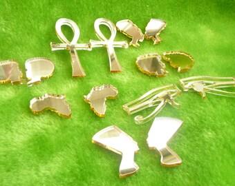 Small stud earrings gold mirror acrylic Afro, Nefertiti, Africa