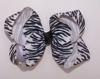 Large Zebra Boutique Bow Girls Big Hair Bow Girls Bow Jumbo Bow Hair Bow
