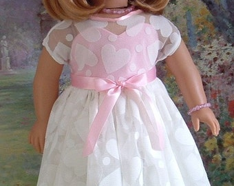 SALE Sweetheart Pink Valentines Dress, Shoes, Necklace, and Bracelet for Kit, Molly, Emily