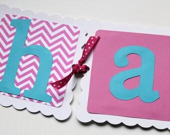 Happy Birthday Banner - Polka Dot Banner - Chevron Banner - Girls Birthday - First Birthday - Pink White Aqua Banner