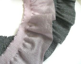 "0,5 m Ruched elastic Merino Wool trim ""Abbie""  app.50 mm w."