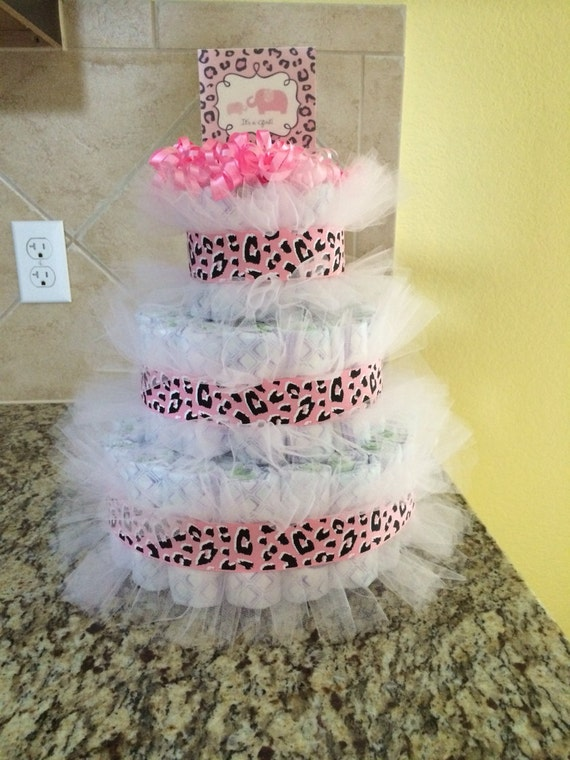 tier pink cheetah diaper cake baby shower by elovesboutique