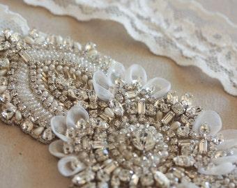 Wedding Garter, Bridal garter set, Rhinestone garter, Embellished bridal garter - Keela