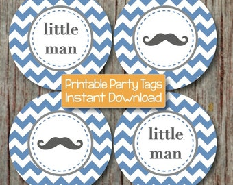 Little Man Baby Shower Mustache Cupcake Toppers Printable Little Man diy Party Mustache Ocean Blue Grey INSTANT DOWNLOAD Decorations 118