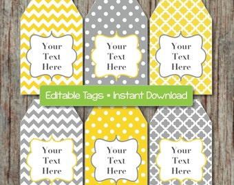 Gift Tags Printable Editable Tags Editable JPG File Yellow Grey INSTANT DOWNLOAD Printable Digital Collage Shower Supplies Decorations 001