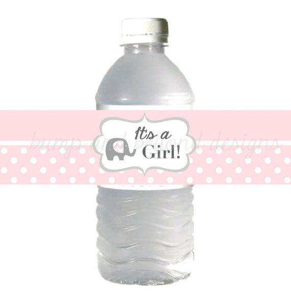 Water Bottle Labels It S A Girl Baby Shower Powder Pink