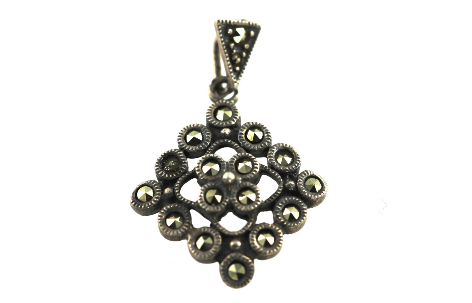 sterling silver marcasite pendant necklace by yourgreatfinds