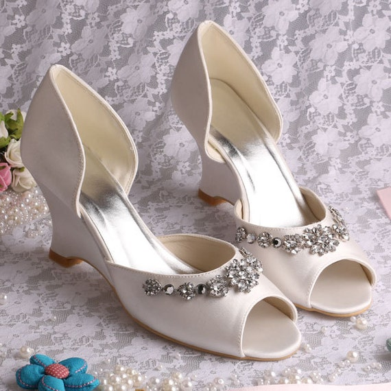 wedding shoes or prom shoes ivory gorgeous with crystals and a