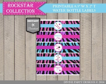 INSTANT DOWNLOAD Rockstar Water Bottle Labels / Printable DIY / Girl Birthday Party/ Rockstar Collection / Item #703