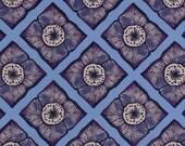 Garage Sale! Cotton quilting fabric, periwinkle, blue, purple, 100% cotton premium quality, floral and geometric squares, 1 yard