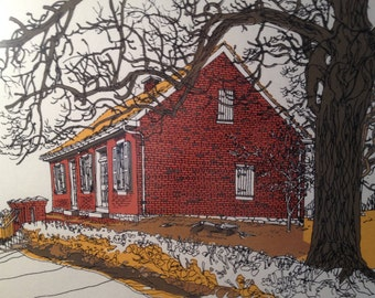 Clifford Satterthwaite Friends Meeting House York, PA 24/500 Vintage Signed Numbered Print