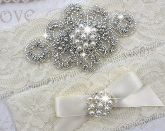 ZANNA - Pearl Wedding Garter Set, Wedding Stretch Lace Garter, Rhinestone Crystal Bridal Garters
