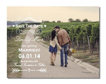 Vintage Photo Save The Date Magnet or Card DIY PRINTABLE Digital File or Print (extra) Arrow Save The Date Country Save The Date