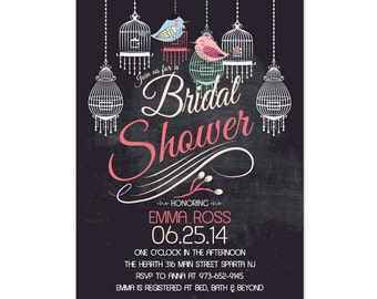 Chalkboard Love Birds Bridal Shower Invitation with Bird Cage DIY PRINTABLE Digital File or Print (extra)