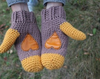 Wool mittens.Crochet Mittens with leather heart. Brown yellow mittens. heart gloves. heart mittens. wool gloves. knitted mittens