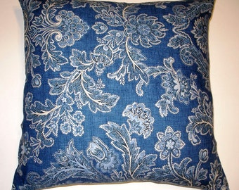 Blue Paisley Throw Pillow Cover-20 x 20- Handmade -Cottage Chic -For The Home - Spring Finds- March Finds- Designer Decorator Fabric- Modern
