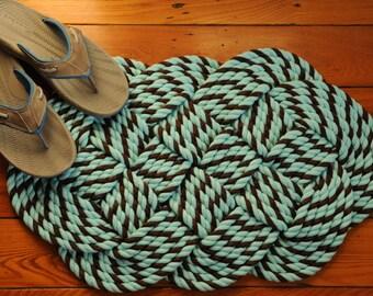 Aqua and Brown Cotton Rope Rug - Nautical Decor - Nautical Rope Rug - Bath Mat - (28 x 17)