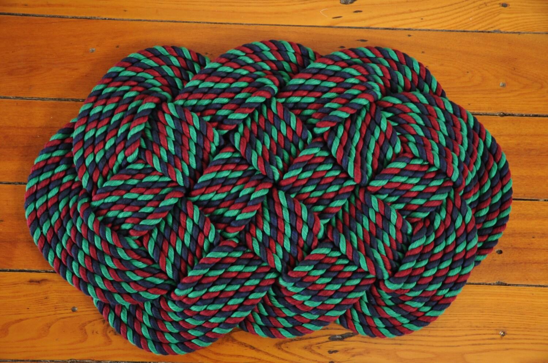 Nautical Bath Mat Rope Rug Nautical Decor Cotton Rug By Oyknot