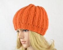 """Knitted winter hat """"Kim"""", winter hat, hat in beaniestyle, knit, wool, winter, women, handmade, dark orange"""