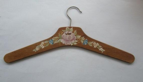 Vintage Hand Painted Wooden Clothes Hanger Wood Coat Hanger