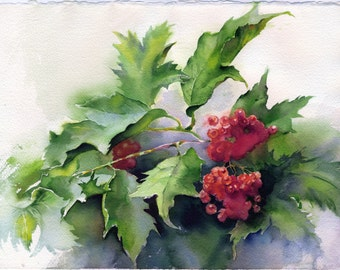 Berries painting - original guelder rose watercolor painting paper