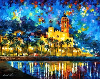 """Spain, Sitges — Wall Art Decor Oil Painting On Canvas By Artist Leonid Afremov. Size: 40""""X30"""" Inches (100cm x 75cm)"""