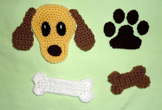 Free Crochet Pattern For A Dog Bone : Dog applique pattern set with bone, dog biscuit and paw ...