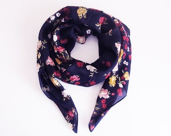Navy blue scarf, floral print scarf, scarves, Scarf, fashion, headwrap, Square, Women Accessories, Square scarf, head scarf, head band