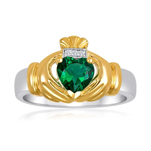 s two tone emerald claddagh ring with 3 genuine by