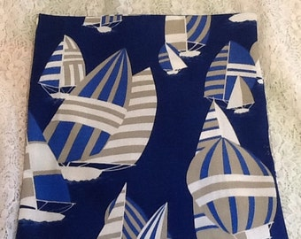 Nautical Sailboat Fabric Pillow Covers in Tan Blue White 14 x 14