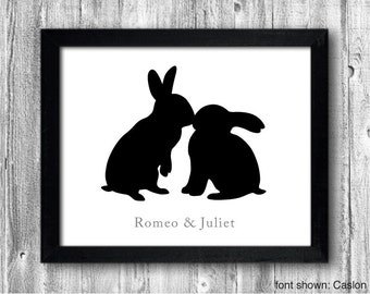 Personalized Hand-cut Rabbits Kiss Silhouette with Custom Message - rabbit art, gift for couples, wedding gift