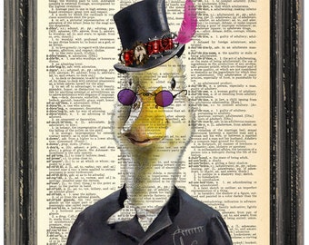 Duck in hat, Dictionary A rt print, Dictionary paper, Wall Art , Duck