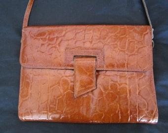 Vintage Women's Brown Envelope Clutch Handbag with Long Shoulder Strap