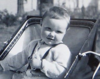 Adorable 1950's Baby In Buggy Snapshot Photograph - Free Shipping