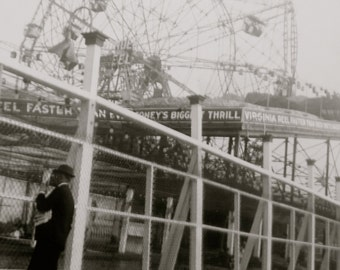 Original 1940's Coney Island Amusement Park Virginia Reel Snapshot Photograph - Free Shipping