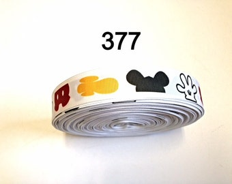"""3 or 5 yard - 7/8"""" Mickey Mouse Pant, Shoe, Hat and Hand inspired on White Grosgrain Ribbon Hair bow"""