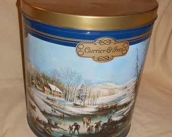Vintage Collectible Tin with Currier and Ives winter scene