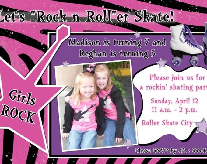 Girl Birthday Invite, Roller Skating Invitation, Birthday Roller Skate Invite, Digital Design - CUSTOM for You - 4x6 or 5x7 size - YOU print