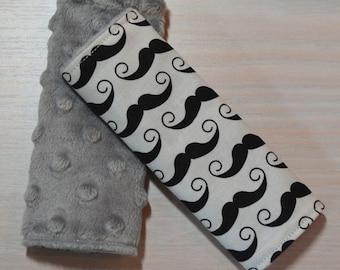 Car Seat Strap Covers - Black & White Mustache