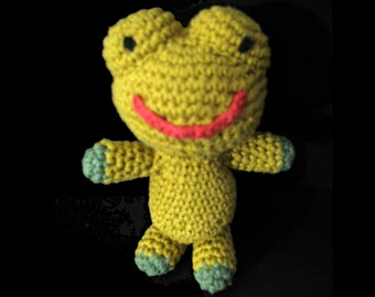 Handmade Amigurumi Lavender Frogie filled with organic lavender in belly for a subtle relaxing smell