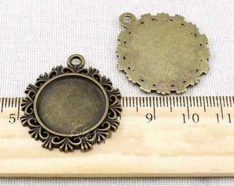 Cabochon Base Settings-15pcs Antique Bronze Round Flower Cameo Charm Pendants 20mm